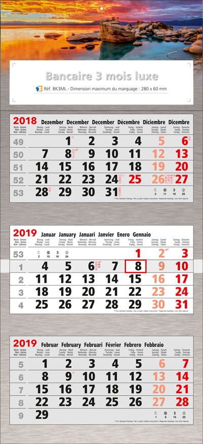 Calendrier Personnaliser.Calendrier Personnalise Luxe 3 Mois Calendriers 100 Perso